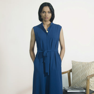 Blue Sleeveless Shirt Dress