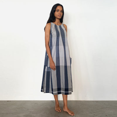 Navy and Grey Handloom Sun Dress
