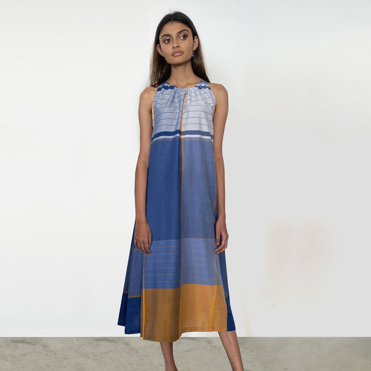 Blue and Orange Handloom Sun Dress
