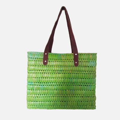 Palmyrah Kopay Beach Basket  Lime Green