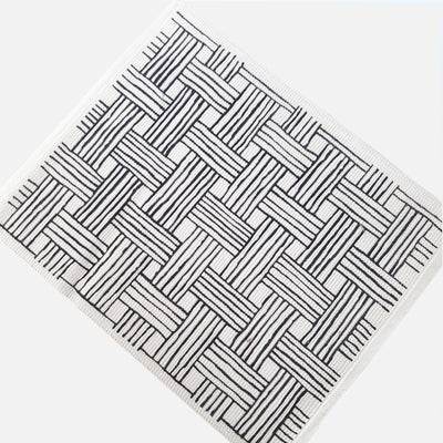 Basket Weave Screen Print Placemat-Black