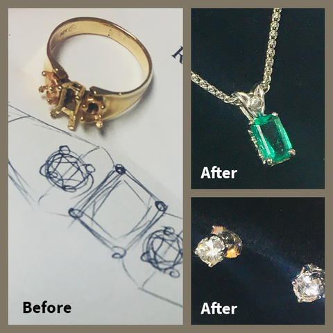 From '80's ring to Classic pendant and earrings.   BEFORE & AFTER