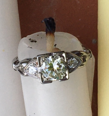 Vintage Three Diamond Engagement Ring - 18kt White Gold, Circa 1930's-40's