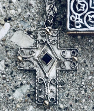 Load image into Gallery viewer, Samiotisa Byzantine Cross, Sterling Silver with 14kt Accents and Sapphire