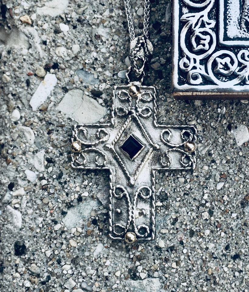 Samiotisa Byzantine Cross, Sterling Silver with 14kt Accents and Sapphire