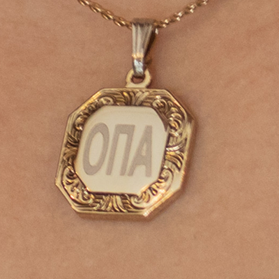 'Opa' Octogonal Shape Necklace in Greek Letters - Gold Tone