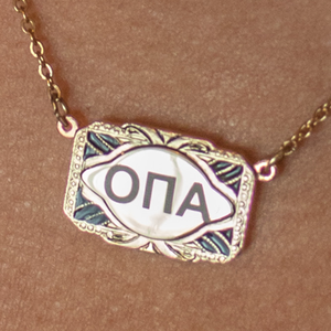 """Opa"" Rectangular Shape Necklace in Greek Letters - Gold Tone"