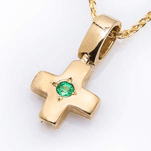 Betty's Byzantine Orthodox Cross - 14Kt Gold with Emerald