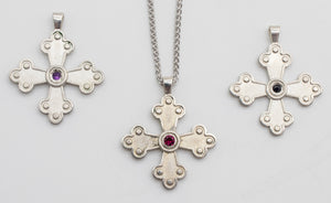 Amalia-Elisabet Byzantine Orthodox Cross - Sterling Silver with Gemstone