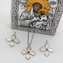 Load image into Gallery viewer, Amalia-Elisabet Byzantine Orthodox Cross - Sterling Silver with Gemstone