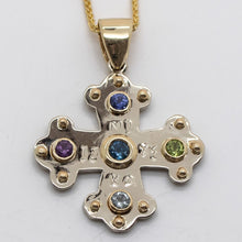 Load image into Gallery viewer, 'Jane's' Cross - Beautifully Designed with Gemstones, 14kt Gold