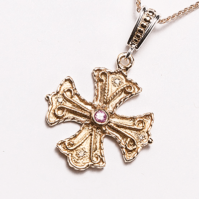 Handcrafted Athenian Byzantine Orthodox Cross – 14KT GOLD