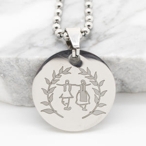 Large Pendant Engraved with Greek Dancers - Silver Tone