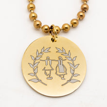 Load image into Gallery viewer, Round Pendant Engraved w/ Greek Dancers and Olive Branches - Gold Tone