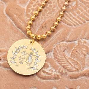 'Dance Greek Collection' Round Pendant Engraved w/ Dancers and Olive Branches