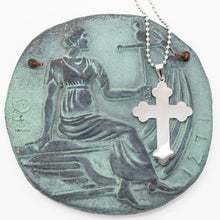 Load image into Gallery viewer, Large Trefoil Orthodox Cross - Stainless Steel