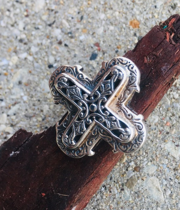Byzantine Cross Ring - Sterling Silver