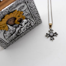 "Load image into Gallery viewer, Sterling Silver 'Ioanna"" Cross with 14kt Yellow Gold Bale"