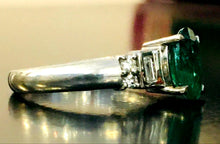 Load image into Gallery viewer, Emerald & Diamond Platinum Ring