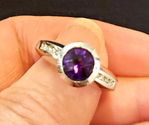 Quilt Cut Amethyst & Diamond Ring