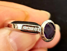 Load image into Gallery viewer, Quilt Cut Amethyst & Diamond Ring