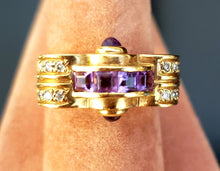 Load image into Gallery viewer, Unique Amethyst & Diamond Ring