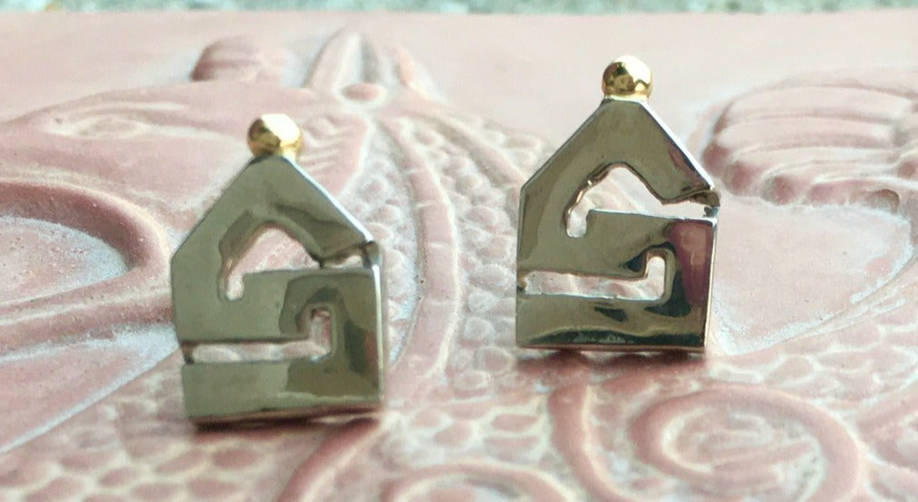 Two Tone Greek Key Earrings