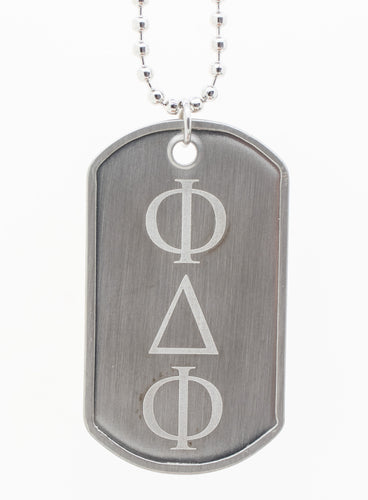 Dog Tag Pendant with Greek Letters 'FDF' (Dance Festival) - Silver Tone