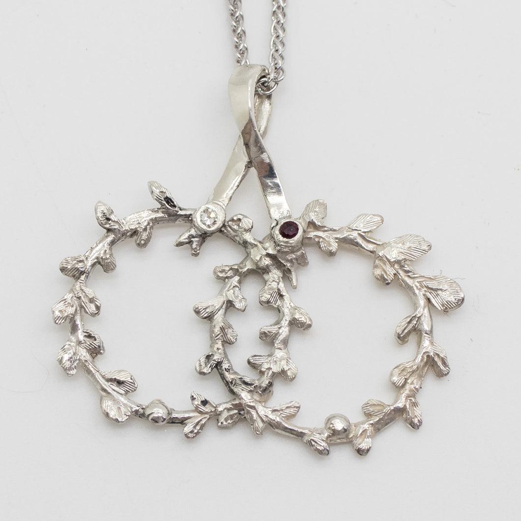 'Theo's' Stefana Necklace in Sterling Silver with 2 Birthstones