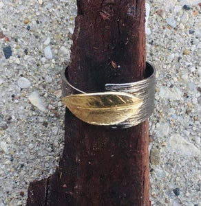Olive Leaf Two Tone Ring