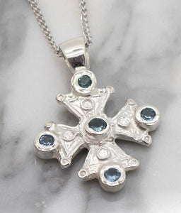 Mary's Byzantine Orthodox Cross - Sterling Silver with Swiss Blue Topaz