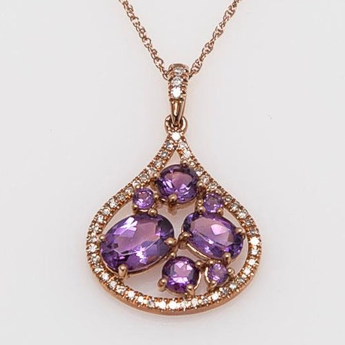 Amethyst & Diamond Rose Gold Mosaic Pendant