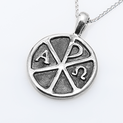 Chi Rho Orthodox Disc Pendant - Sterling Silver