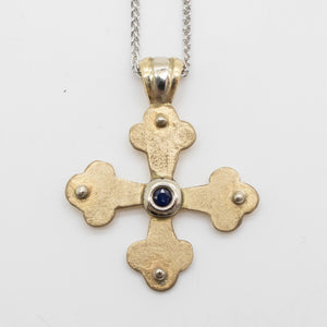 Vasilios Byzantine Orthodox Cross - Two Tone 14kt Gold and Sterling Silver with Sapphire