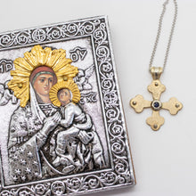 Load image into Gallery viewer, Vasilios Byzantine Orthodox Cross - Two Tone 14kt Gold and Sterling Silver with Sapphire
