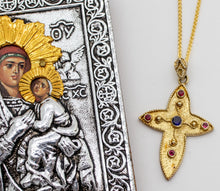 Load image into Gallery viewer, Byzantine Style Gold Vermeil and Gemstone Cross Necklace