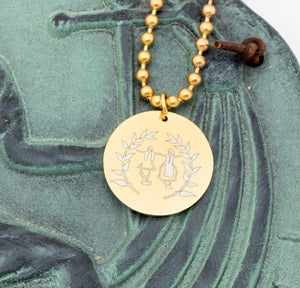 Round Pendant Engraved w/ Greek Dancers and Olive Branches - Gold Tone