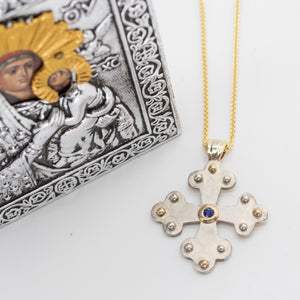 Panagis Byzantine Orthodox Cross - Two Tone 14kt Gold & Sterling Silver with Sapphire