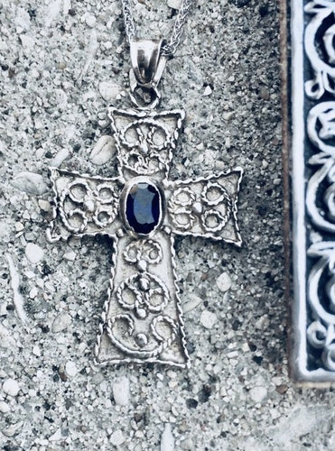 Paros Sterling Silver Byzantine Cross with Oval Sapphire
