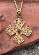 Load image into Gallery viewer, Koroni Byzantine Cross, Gold Vermeil with Sapphire