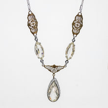 Load image into Gallery viewer, Two Tone Art Deco Crystal Necklace