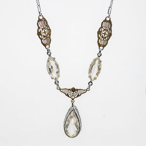 Two Tone Art Deco Crystal Necklace