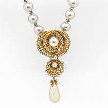 Load image into Gallery viewer, Miriam Haskell Vintage Necklace with Rhinestones & Faux Pearls