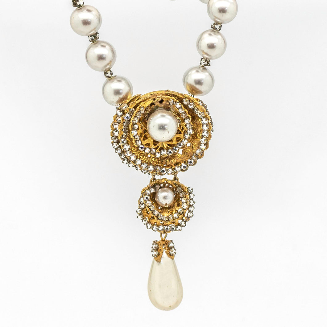 Miriam Haskell Vintage Necklace with Rhinestones & Faux Pearls