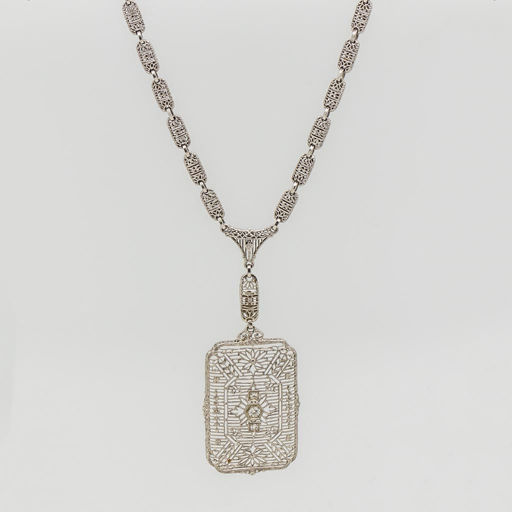 1920's Art Deco Filigree Diamond Necklace - 14kt White Gold