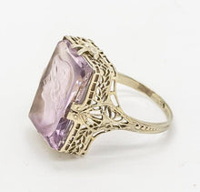 Load image into Gallery viewer, Vintage Hand Carved Amethyst Cameo Ring - 18kt White Gold