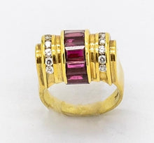 Load image into Gallery viewer, Vintage LAGOS Ruby and Diamond Barrel Style Ring