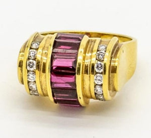 Vintage LAGOS Ruby and Diamond Barrel Style Ring