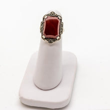 Load image into Gallery viewer, Art Deco Vintage Carnelian & Marcasite Ring - Sterling Silver