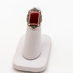 Art Deco Vintage Carnelian & Marcasite Ring - Sterling Silver